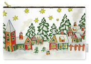 Christmas Picture In Green And Yellow Colours Carry-all Pouch