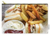 Classic Club Sandwich With Fries On Wooden Board Carry-all Pouch