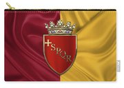 Coat Of Arms Of Rome Over Flag Of Rome Carry-all Pouch by Serge Averbukh
