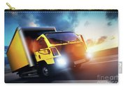 Commercial Cargo Delivery Truck With Trailer Driving On Highway At Sunset. Carry-all Pouch
