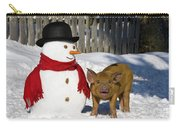 Curious Piglet And Snowman Carry-all Pouch