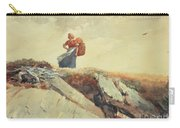 Down The Cliff Carry-all Pouch by Winslow Homer