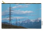 Electric Power Transmission Pylons On Inner Mongolia Grassland At Sunrise  Carry-all Pouch