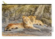Female Lion And Cub Hdr Carry-all Pouch