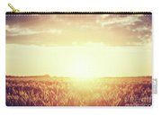 Field, Countryside At Sunset. Harvest Time. Vintage Carry-all Pouch