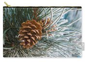 Frosty Pine Needles And Pine Cones Carry-all Pouch