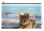 Gray Cat On The Background Of The Sea 1 Carry-all Pouch