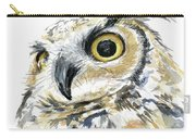 Great Horned Owl Watercolor Carry-all Pouch by Olga Shvartsur