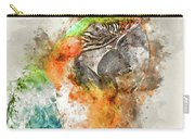 Green And Orange Macaw Bird Digital Watercolor On Photograph Carry-all Pouch