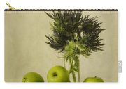 Green Apples And Blue Thistles Carry-all Pouch by Priska Wettstein