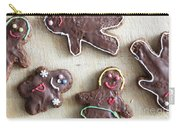 Handmade Decorated Gingerbread People Lying On Wooden Table Carry-all Pouch