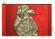 Heart Of Gold - Golden Human Heart On Red Canvas Carry-all Pouch