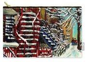Escaliers De Montreal Ville De Verdun Best Original Montreal Paintings On Sale Peintures  Carry-all Pouch
