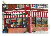 Original Montreal Paintings For Sale Peintures A Vendre Restaurant La Quebecoise Deli Carry-all Pouch