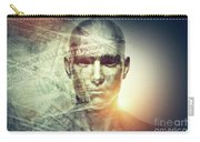 Human Man Face And Dollars Double Exposure. Carry-all Pouch