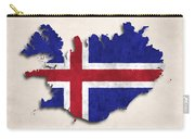 Iceland Map Art With Flag Design Carry-all Pouch