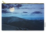Light On Stone Mountain Slope With Forest At Night Carry-all Pouch