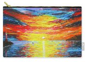 Lighthouse Sunset Ocean View Palette Knife Original Painting Carry-all Pouch