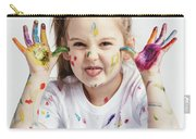 Little Girl Covered In Paint Making Funny Faces. Carry-all Pouch
