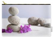 Meditation Stones Pink Flowers On White Sand Carry-all Pouch