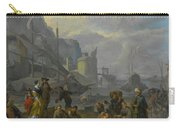Mediterranean Port With An Elegant Couple Carry-all Pouch