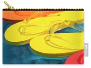 Multicolored Flip Flops Floating In Pool Carry-all Pouch