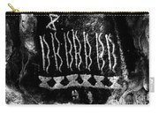 Native American Petroglyph On Sandstone Black And White Carry-all Pouch