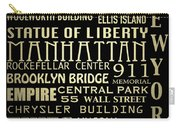 New York Famous Landmarks Silver Carry-all Pouch