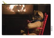 Old Teddy Bear Sitting Front Of The Fireplace In A Cold Night Carry-all Pouch