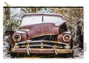 Old Vintage Plymouth Automobile In The Woods Covered In Snow Carry-all Pouch
