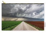 Pick A Side - Colorful Fields Divided By Road On Stormy Day In Oklahoma. Carry-all Pouch