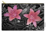 Pink Daylilies With Partially Desaturated Petals And Black And White Background Carry-all Pouch