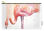 Pink Flamingo Watercolor Rain Carry-all Pouch