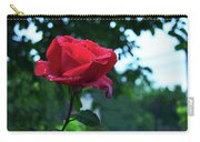 Pink Rose With Dew Drops Carry-all Pouch