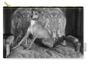 Portrait Of An Italian Greyhound In Black And White Carry-all Pouch