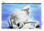 Psychedelic Mute Swan And Cygnet Feeding Carry-all Pouch