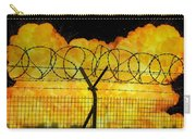 Realistic Orange Fire Explosion Behind Restricted Area Barbed Wire Fence Carry-all Pouch