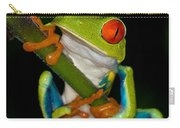Red-eyed Green Tree Frog Hanging On Carry-all Pouch