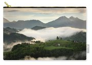 Rolling Fog At Sunrise In The Skofjelosko Hills With St Thomas C Carry-all Pouch