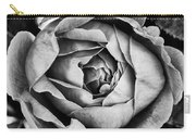 Rose Closeup In Monochrome Carry-all Pouch