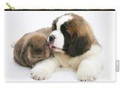 Saint Bernard Puppy With Rabbit Carry-all Pouch