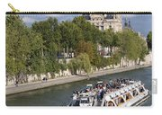 Sightseeing Boat On River Seine To Louvre Museum. Paris Carry-all Pouch