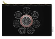 Silver Seal Of Solomon Over Seven Pentacles Of Saturn On Black Canvas  Carry-all Pouch