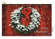 Snowy Christmas Wreath Card Carry-all Pouch