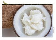 Solid Coconut Oil In Halved Coconut Carry-all Pouch
