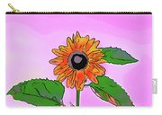 Illustration Of A Sunflower On A Pink Background Carry-all Pouch