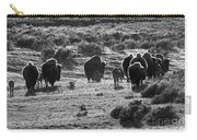 Sunset Bison Stroll Black And White Carry-all Pouch