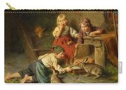 Three Children Feeding Rabbits Carry-all Pouch