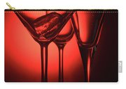 Three Empty Cocktail Glasses On Red Background Carry-all Pouch