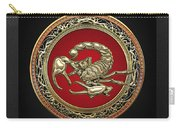 Treasure Trove - Sacred Golden Scorpion On Black Carry-all Pouch